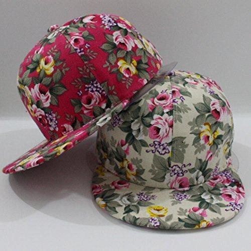 Oksale® Rose Flower Snapback Hip-Hop Baseball Cap Outdoor Flat Snapback Hat (Hot Pink,)