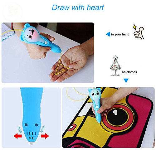 New Expression Three-Dimensional Creative Brush Christmas Children's Toys 3D Printers Low-temperature Charging 3D Printing Pen by ADI7N (Image #3)