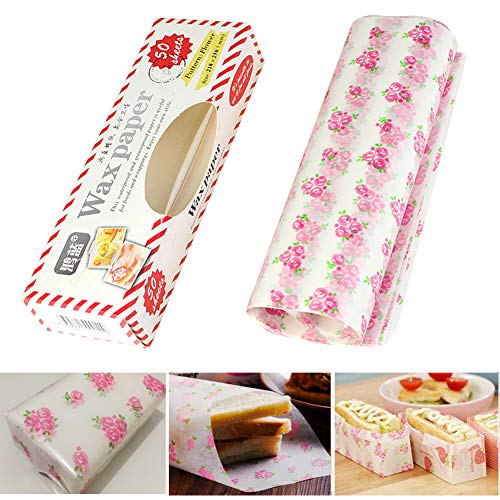 Wax Paper,Cookies Paper,Waterproof Hamburger Paper,Food Tissue … (Pink - Flower)
