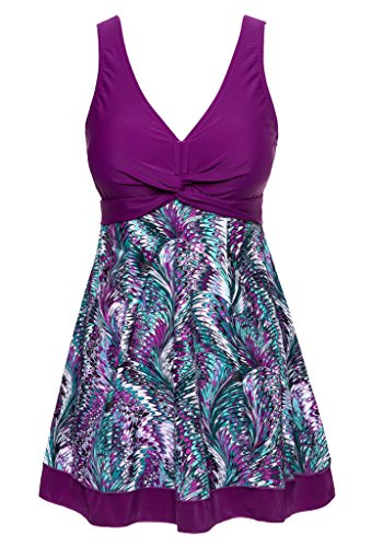 Wantdo Women's Slimming Modest Vintage Peacock One Piece Bathing Suit, Purple, US 10