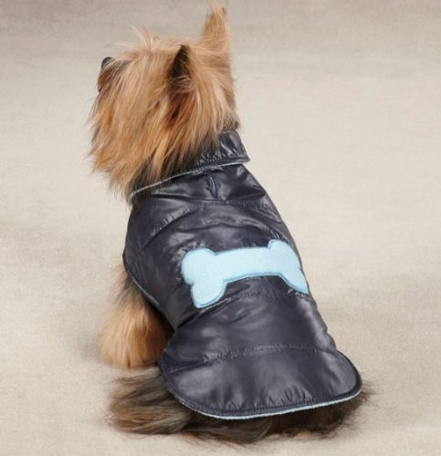 Casual Canine Polyester Snow Puff Dog Vest, Large, 20-Inch, Navy