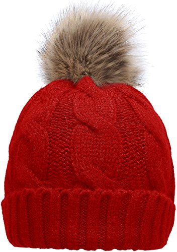 - Women's Winter Ribbed Knit Faux Fur Pompoms Chunky Lined Beanie Hats Twist Red