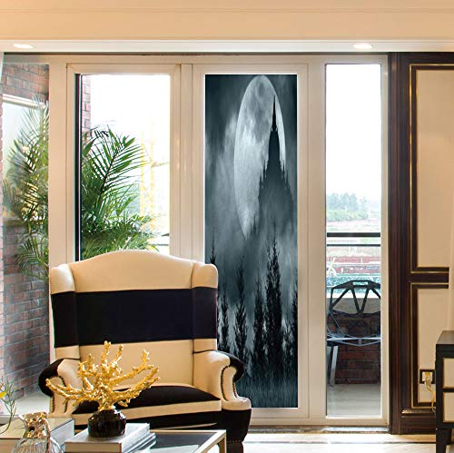 YOLIYANA Non-Toxic Window Film,Halloween,for Indoor & Outdoor Window,Magic Castle Silhouette Over Full Moon Night Fantasy,24''x78'' ()