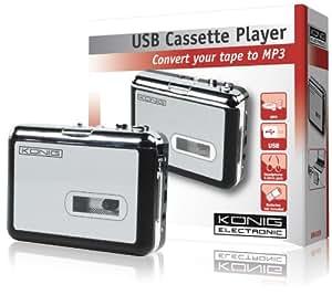 König HAV-CA10 convertidor de audio - Conversor de audio (USB A, 13 cm, 12,5 cm, 5 cm) Negro, Plata