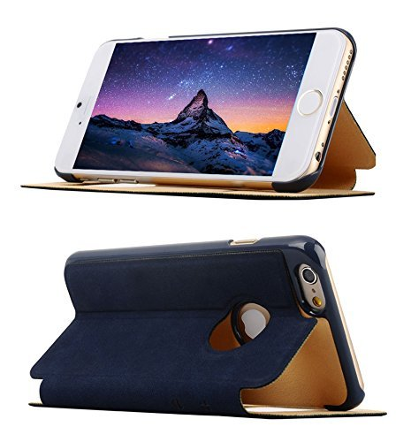 """iPhone 6 Case, Vintage PU Leather Smart Window View SUPER Slim Flip Folio Cover Case for iPhone 6 4.7"""" - Kickstand to Adjust View (Navy)"""
