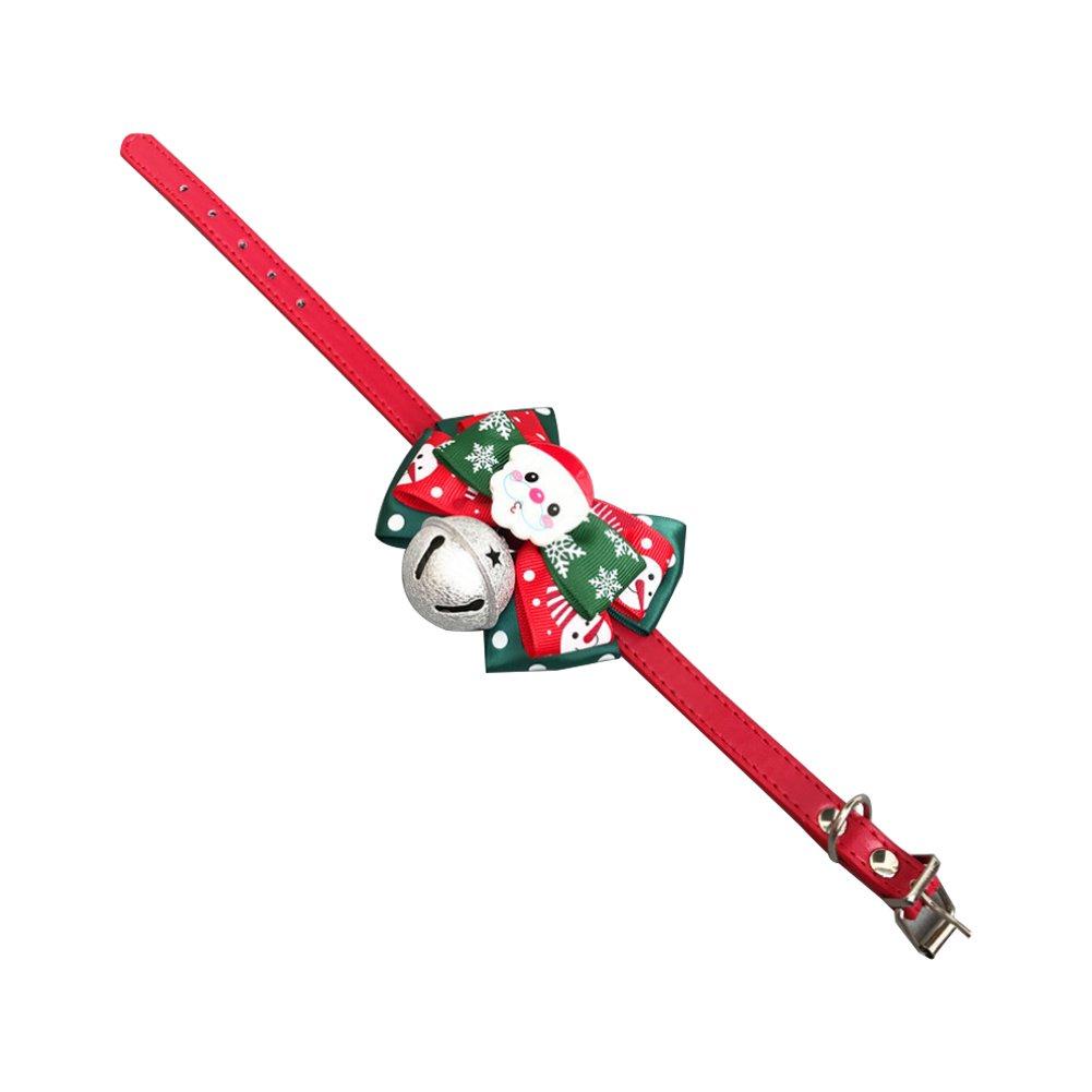 Newin Star Campana di Natale Bowknot Cravatta per Collare Regolabile per Cani Piccoli di Taglia Media Cucciolo di Cane Gatto Party M