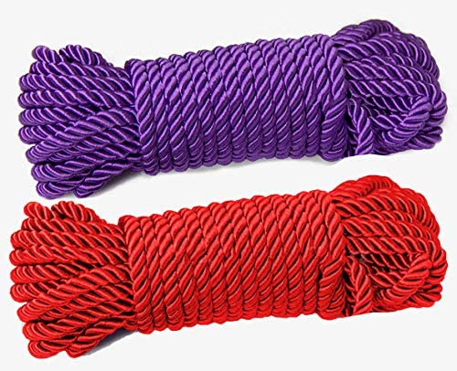 32 feet 8mm Diameter Soft Silk Rope Solid Braided Twisted Ropes,10m Durable and Strong All Purpose Twine Cord Rope String Thread Shiny Cord/_ Red and Violet 1//3inch