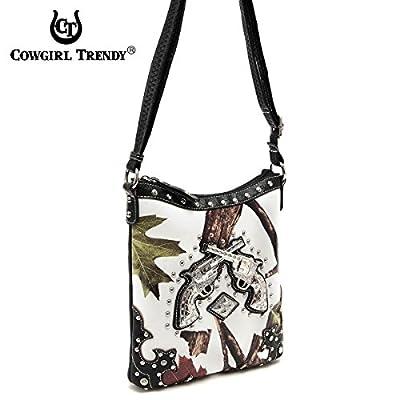 Western Style Camouflage Rhinestone Cross Pistol Women's Purse Cross Body Handbags Messenger Bags Black