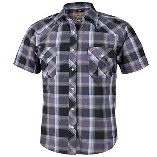 Coevals Club Men's Short Sleeve Casual Western Plaid Snap Buttons Shirt (XL, 1#Grey,Balck) - Grey Button Pearl