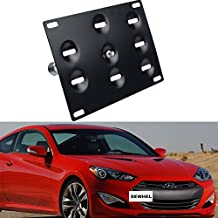 Dewhel JDM Front Bumper Tow Hook License Plate Mount Bracket Holder Tow Hole Adapter Bolt On For 10 -16 Hyundai Genesis Coupe