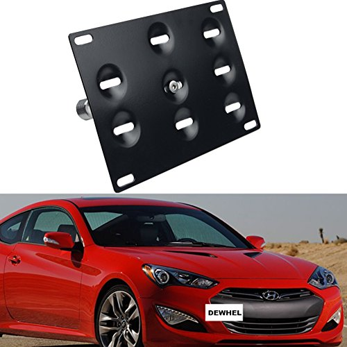 Hyundai License Plate - Dewhel JDM Front Bumper Tow Hook License Plate Mount Bracket Holder Tow Hole Adapter Bolt On For 10 -16 Hyundai Genesis Coupe