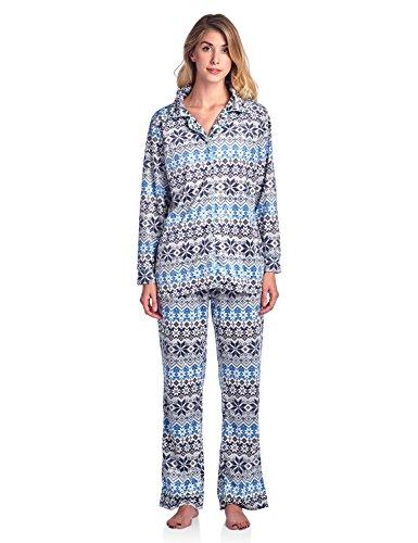 Ivory Lounge Set - Ashford & Brooks Women's Cozy Mink Fleece Pajama Set - Fair Isle Ivory - 3X-Large