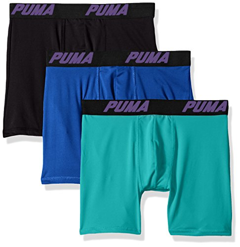 PUMA Men's Volume Boxer Brief (3-Pack), Grey/Green, Large