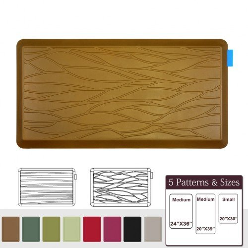 NUVA Anti Fatigue Standing Floor Mat 39 x 20 in, 100% PU Comfort Ergonomic Material Unlike PVC leather mats! 4 Non-slip PU Elastomer Strips on Bottom, 5 Safety Test by SGS (Light Brown, Wave Pattern)