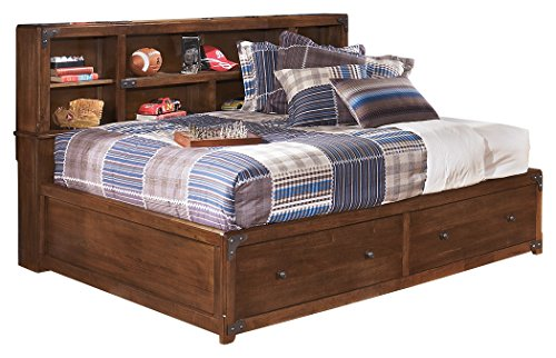 Ashley Furniture Signature Design - Delburne Casual Day Bed with Storage - Full Size Daybed - Medium Brown