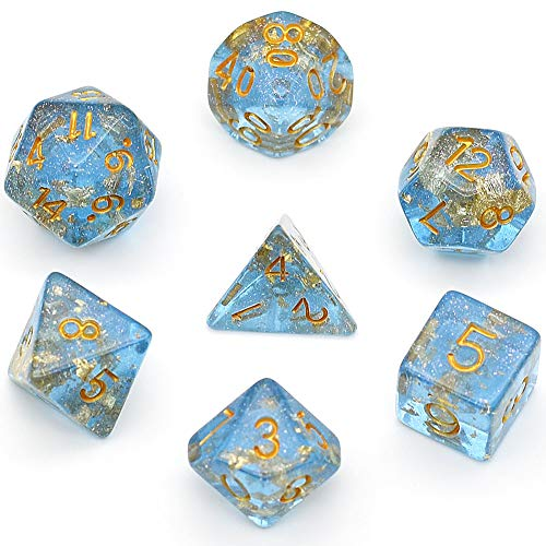Polyhedral DND Dice Sets Shimmer Gold Foil Dice for Dungeons and Dragons Pathfinder RPG MTG Table Gaming Dice (Blue)