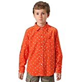 Leo&Lily Big Boys' Casual Cotton Corduroy Print Dot Casual Woven Shirts with Tie (Orange, 12)
