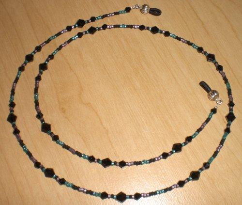 Bead Mix Matte - Black Teal Amethyst Matte Bead Mix Eyeglass Chain Holder
