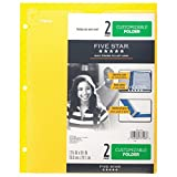 Customizable Plastic Folder 2 Pocket,3 Holes - Five Star/NO PRONGS/Size (Overall): 9.5 '' X 11.75 '',Sheet Capacity: 120 (Yellow)