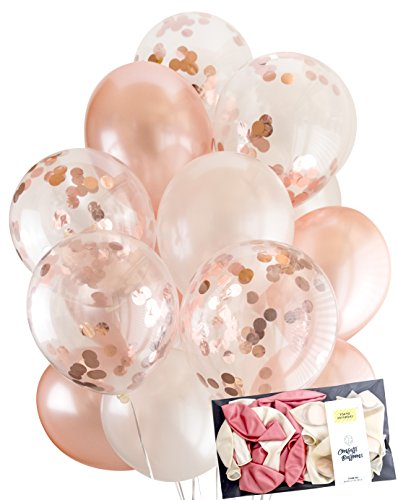 Rose Pink Gold Confetti Balloon Party Decoration (Thickened 12