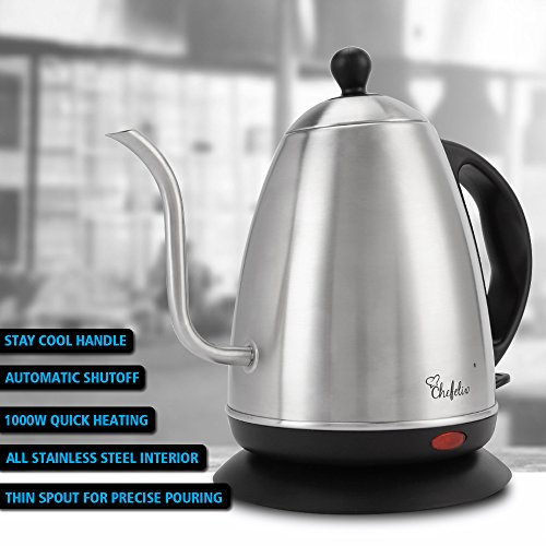 Chefelix 1.2L Stainless Steel Electric Gooseneck Kettle, Drip Kettle, 1000W Fast Heat Up and Automatic Shutoff