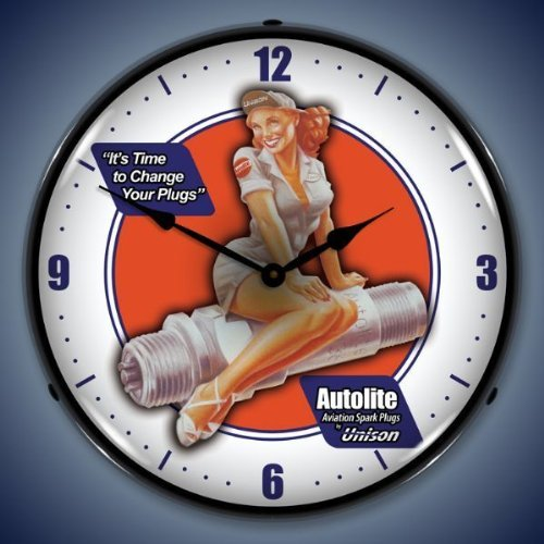 Autolite Spark Plug Pin Up Lighted Wall Clock