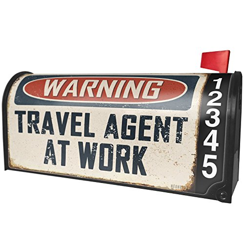 NEONBLOND Warning Travel Agent At Work Vintage Fun Job Sign Magnetic Mailbox Cover Custom Numbers by NEONBLOND