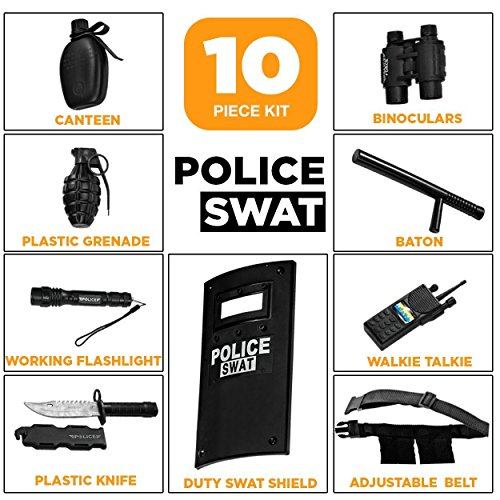 Ultimate tout-en-un ensemble de jeu de rôle policier pour les enfants - Comprend SWAT Shield, ceinture réglable, lampe… 2