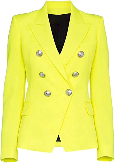 Fashion Designer Blazer Women S Buttons Double Breasted Fluorescence Yellow Notched Elegant Blazer Jacket All Match At Amazon Women S Clothing Store
