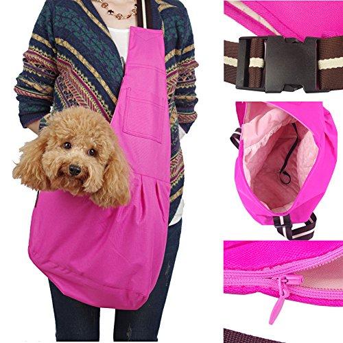 kiwitatá Hands-free Pet Sling Carrier Bag Adjustable Small Dog Cat Single Shoulder Bag Waterproof Oxford Cloth Outdoor Pet Carriers Tote for Puppy Carrier Travel Bag (S, Rose)