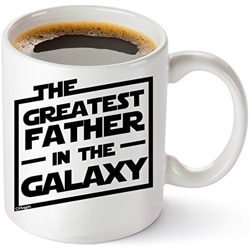Muggies Greatest Father in The Galaxy 11oz. Coffee Tea Mug. Unique Funny Christmas, Xmas, Birthday, for Him - Super Star Men, Dad, Husband