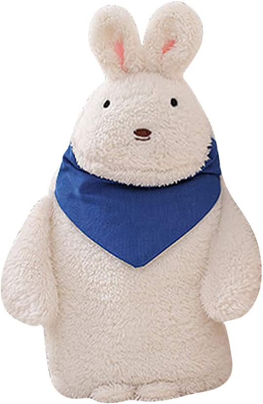 Premium Hot Water Bottle Kids, Large Rubber Hot Water Bag with Cute Stuffed Plush Rabbit 3D Animal Rabbit Bear Cover for Pain Relief, Hot and Cold Therapy and Travel Christmas Gift