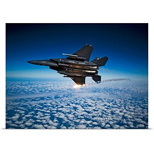 - GREATBIGCANVAS Poster Print Entitled A F 15E Strike Eagle Aircraft Releases Flares by Stocktrek Images 16