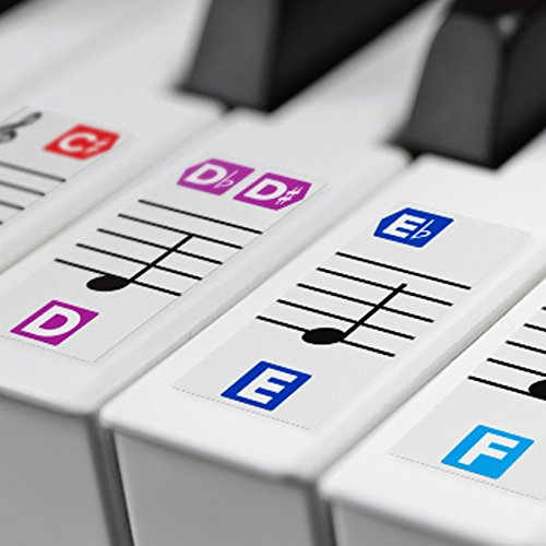 Color Piano Stickers for Keys – Removable w/ Double Layer Coating for 49 / 61 / 76 / 88 Keyboards (Poster Chord Piano)