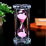 SZAT Hourglass Sand Timer Clock Romantic Mantel Office Desk Coffee Table Book Shelf Curio Cabinet Christmas Birthday Present Gift Box Package(Pink,Crystal,30 Minutes)