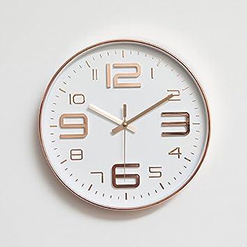 BAICHUANG Reloj de pared, reloj de pared de metal silencioso de 30,48 cm, reloj de pared digital de salón redondo para decoración del hogar: Amazon.es: ...
