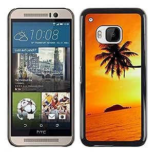 Be Good Phone Accessory // Dura Cáscara cubierta Protectora Caso Carcasa Funda de Protección para HTC One M9 // Orange Sunset Black Gold Tropical Island