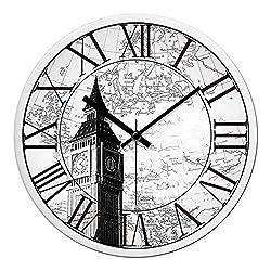Multi-Clocks Wall Alarm Clock Clocks Retro Roman Numerals Mute Home Living Room Bedroom Black and White A1 12in(30.5cm)