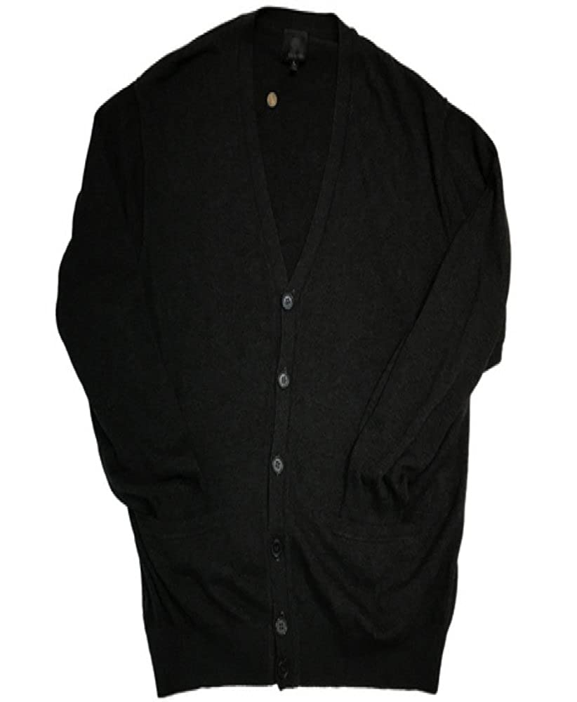 Big and Tall Luxury Acrylic Blend Cardigan In Charcoal, Black, and Tan (Charcoal, 5X Big)