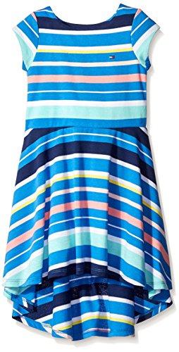 Tommy Hilfiger Little Girls' Yarn Dye Variegated High-Low Dress, PLC Blue, 4