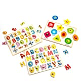 Kids Wooden Peg Puzzle,Educational Toy for toddlers Bundle Set Alphabet ABC Letters Numbers and Shapes Toy Board Game Cognitive Learning Gift for Age 3 4 5 6 7 Year Old Toddlers Baby Boys