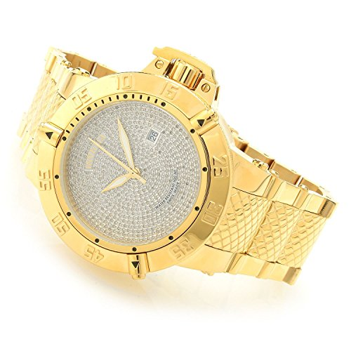 Invicta Mens Subaqua Noma III Swiss Made Quartz 2.72ctw Diamond Gold Tone SS HIGH POLISH Bracelet Watch