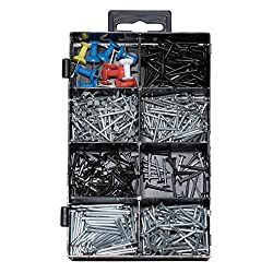 600 Pieces Small Metal Wire Nail, Brad, and Push Pins Assortment, Commonly Used Sizes.