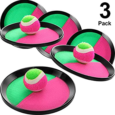 Toss and Catch Balls Game, 3 Set Paddle Toss and Catch Ball, 6 Paddles and 3 Balls, Suitable for Sports, Beach, Birthday Gifts, Novelties, Event and Game Prizes, Educational, Party Favor and Supplies: Toys & Games