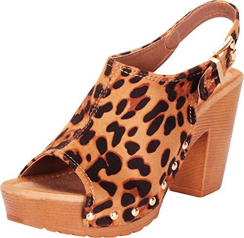 Cambridge Select Women's Retro 70s Open Toe Studded Clog Chunky Platform Block Heel Sandal,10 B(M) US,Leopard IMSU