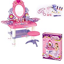 Kids Girls Mirror Dressing Table Pink Dresser Play Set Glamour Beauty Make up Desk Toy Bedroom Table Play Children Creative Game Fun Christmas Gift (SI-TY1080) by FB FunkyBuys