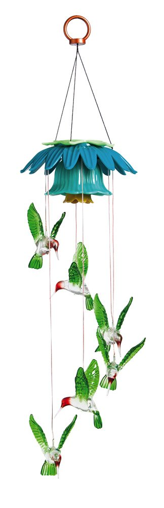 Evergreen Hummingbird Color Changing Flower Top Solar Mobile