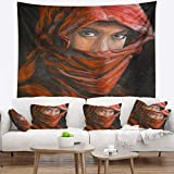 Designart TAP6278-32-39 'Arabian Woman in Hijab' Portrait Tapestry Blanket Décor Wall Art for Home and Office, Medium: 32 in. x 39 in.