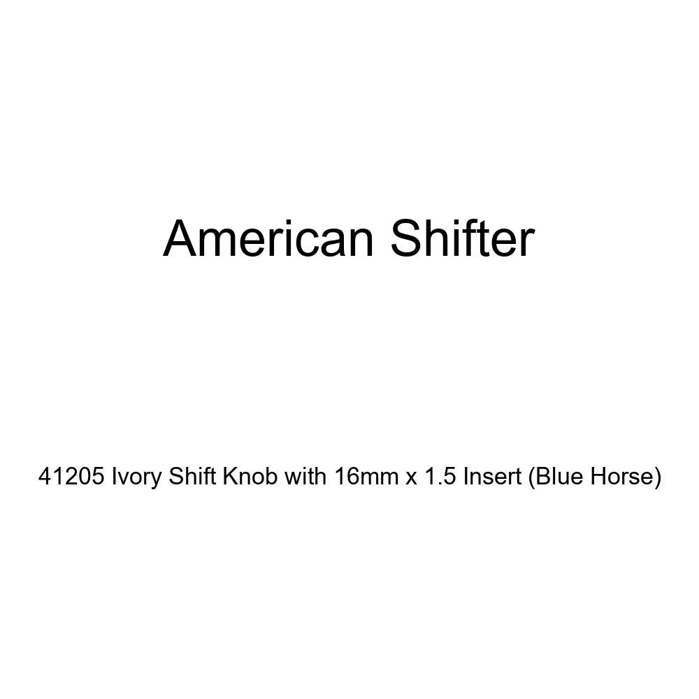 American Shifter 41205 Ivory Shift Knob with 16mm x 1.5 Insert Blue Horse