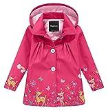 Wantdo Girl's and Boy's Hooded Rain Jacket Windproof Fleece Raincoat(Rose Red, 5-6Y)